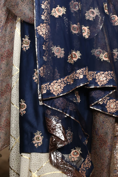 INDIGO EMBROIDERED KURTA SET ( RH-11 )