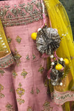Rose Pink Embroidered Artistic Lehenga Set ( KZ-04 )