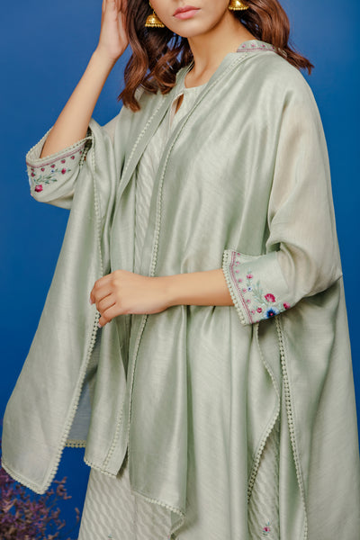 DRAPED EMBROIDERED CAPE WITH LEHERIYA EMBROIDERED KURTA AND STRAIGHT PANTS. AQUA (BNS-06A)