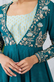 Stunning Teal Embroidered Asymmetrical Anarkali Set ( JP-17 )