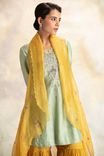 Graceful Aqua Green Embroidered Short Kurti with Sharara & Cape  (KK-19B)