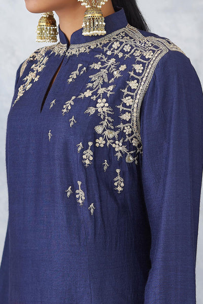 Eye Catching Navy Blue With Maroon Ombre Embroidered Kurta With Churidar ( NAAZ-06 )