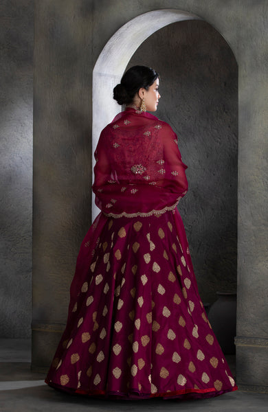 Purple banarasi silk brocade lehanga set (JP-13A/LS-29/SK-31B)