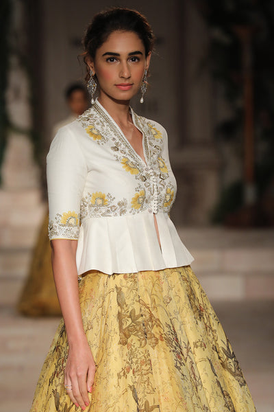 Embroidered Peplum Blouse And Circular Skirt JP-29