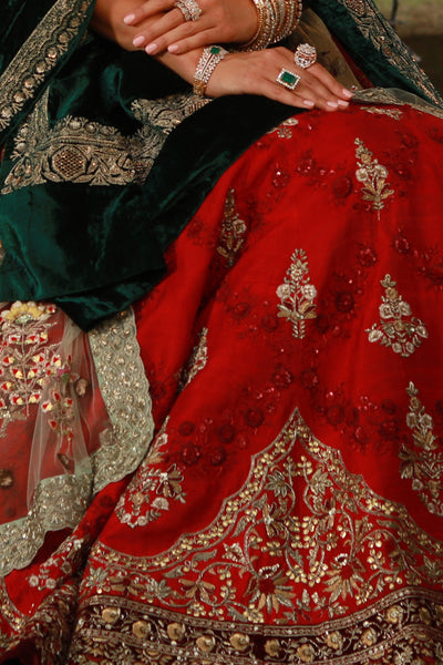 Classy Looking Sindoori Red Embroidered Lehanga Set (ALW - 14)