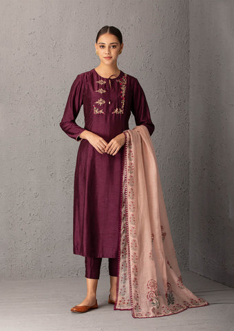 Wine embroidered kurta set ( ALY -09B )