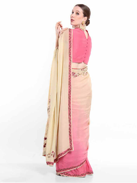 Pink Chiffon Saree With Blouse Piece BOT-18