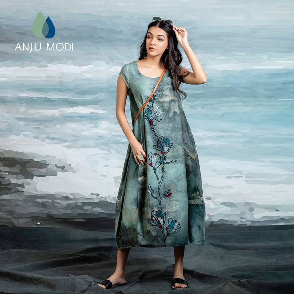 TEAL SHADED SILK MULMUL TUNIC ANT-20