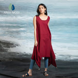 MAROON ASSYMETRIC SLEEVELESS TUNIC ANT-13