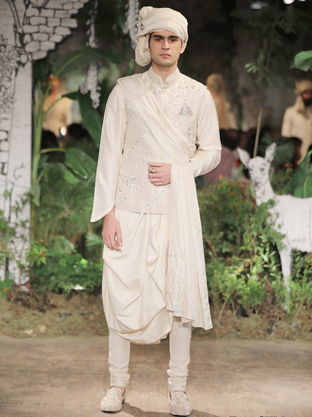 Almond Dupion Kurta Set (3 pc) SKM-1