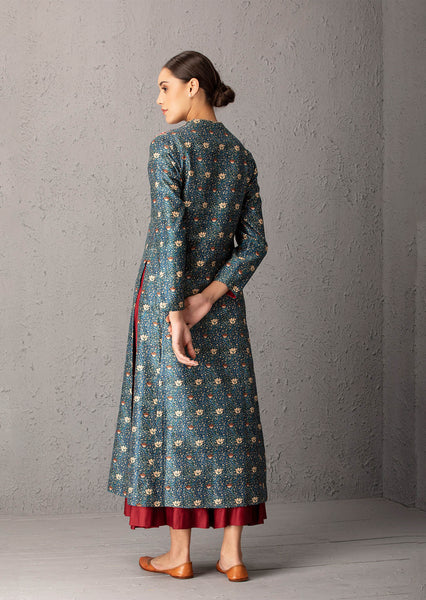 Blue & Maroon printed & embroidered kurta set ( EP-04A)