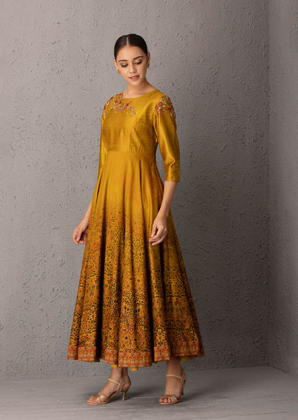 Embroidered & Printed Mustard Dress ( EP-06 )