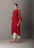 RED CHIKANKARI TUNIC SET ( INY - 29B )