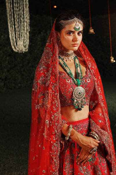 Royal & Exquisite Sindoori Red Embroidered Lehanga Set (JP-54A)