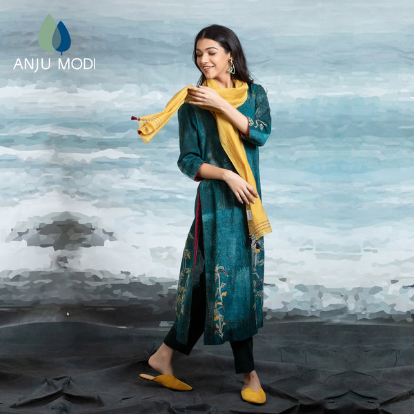 TEAL STRAIGHT KURTA WITH STOLE ANT-02