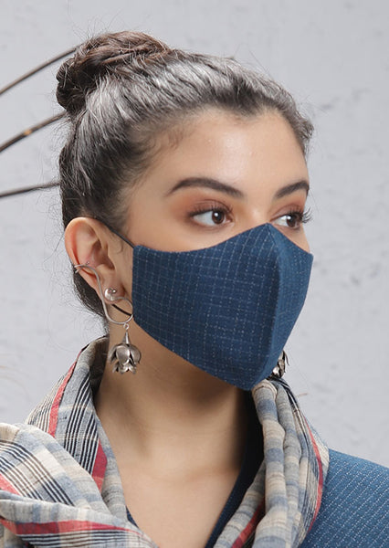 Blue Cotton Mask with checks (M-05)