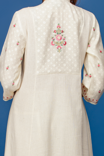 Embroidered Double Layered Kurta With Flared Palazzo. Ivory