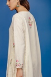 Embroidered Front Placket Kurta With Palazzo. Ivory