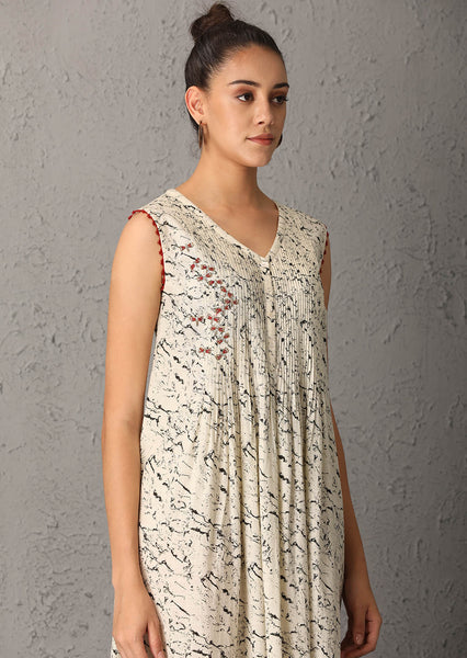 Printed ivory sleeveless tunic (PT-06) JUST ADDED