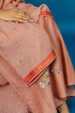 EMBROIDERED JAAL KURTA WITH DUAL COLOUR CRINKLE SHARARA & DUPATTA. OLD ROSE PINK