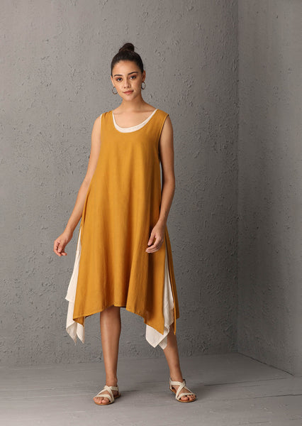 Mustard sleeveless dress with ivory asymetric inner (SWF-56) JUST ADDED