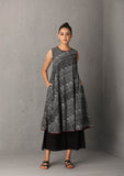Black printed sleeveless kurta set with scarf (SW -37) JUST ADDED