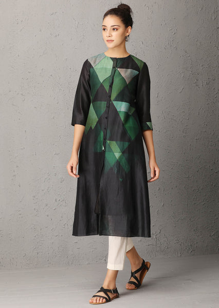 Black tunic with geometric print (TRC-08A)