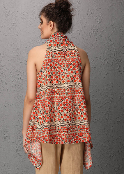Orange printed sleeveless cape (USW - 19) JUST ADDED