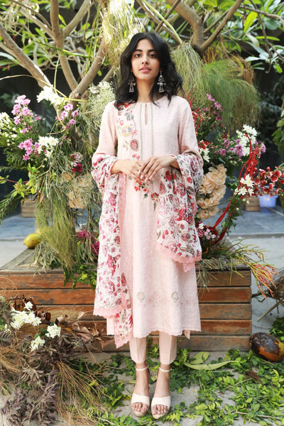 SALMON PINK CHANDERI EMBROIDERED KURTA SET ( NR-01 )