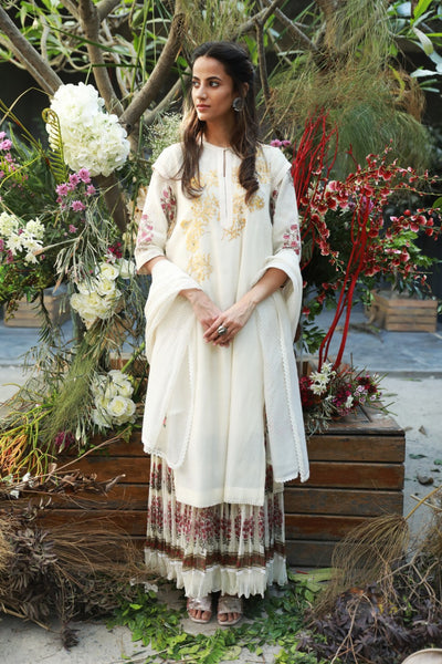 IVORY CHANDERI FOIL PRINTED & EMBROIDERED KURTA SET ( NR-05 )