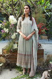 GREY GAUZE PRINTED & EMBROIDERED LONG TIERED DRESS SET ( NR-06 )