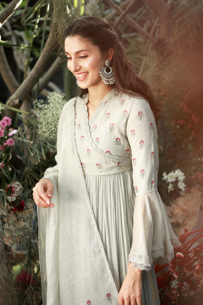 GREY CHANDERI FOIL PRINTED & EMBROIDERED ANARKALI SET ( NR-07 )