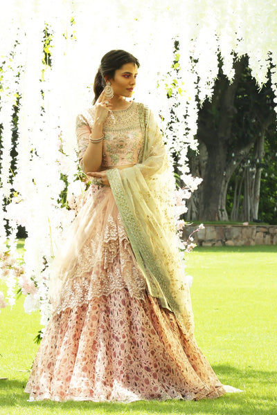 Stunning Blush Embroidered Blouse And Floral Lehanga Set (JP-04A/JP-30A/SK-11)