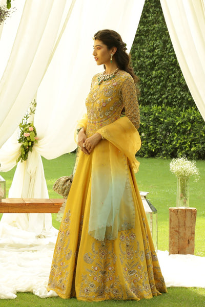 Enticing Zardozi Embroidered Yellow Dress With Shaded Dupatta (JP-11A/ KK-09B)