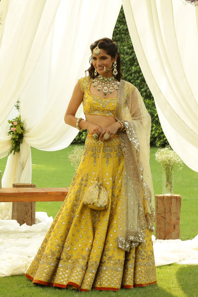 Attractive Gota Patti Embroidered Yellow Lehanga set (ALW-06)