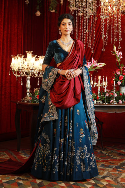 Royal Blue Embroidered Lehanga Set with Scallop Dupatta (SK-08/16/29/JP-40)