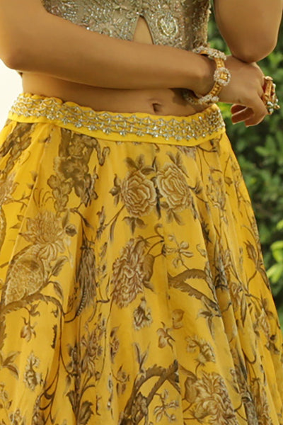 Elegant Toosh Embroidered Blouse & Bird Printed Skirt (JP-27 /JP-43)