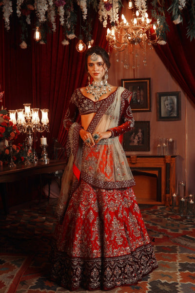 Royal & Classy Embroidered Red Lehanga Set (SK-37/41/KD-57)