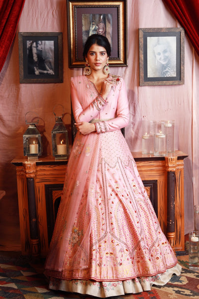 Embroidered & Printed Old Rose Anarkali Set (KA-12/KK-20A/JP-13A)