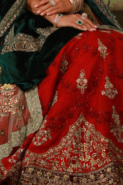 Heavenly Red Embroidered Lehanga Set With Velvet Dushala (ALW-14/SK-36/SK-11/WS-36)