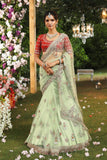 Classy Mint Scallop Embroidered Saree Set (JP-55A/AV-09)