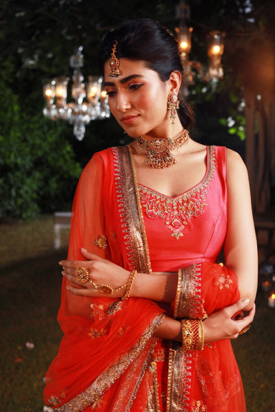 Rich & Attractive Embroidered Coral Lehanga set (KZ-05)