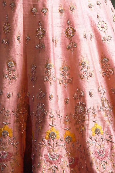 Rich & Attractive Old Rose Embroidered Lehanga Set (KZ-04)