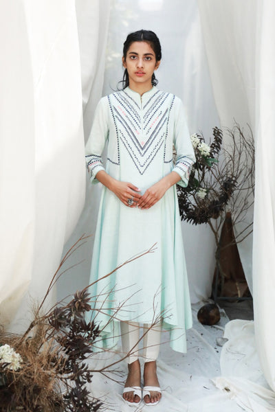 ICE BLUE EMBROIDERED HANKERCHIEF HEMLINE TUNIC ( ALFZ- 03 )