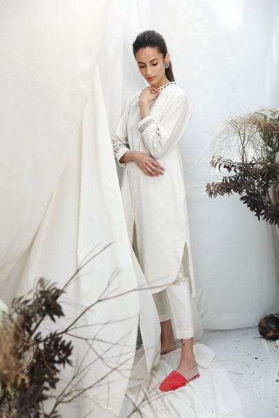 IVORY FRONT OPEN SHIRT DRESS WITH DELICATE THREAD EMBROIDERY ( ALFZ- 07)