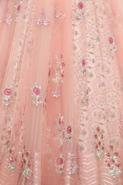 Graceful Old Rose Double Layered Embroidered Lehanga Set ( SK-20 )