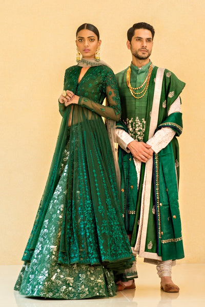 EYE CATCHING EMERALD GREEN ANARAKALI SET ( ALW-21 )