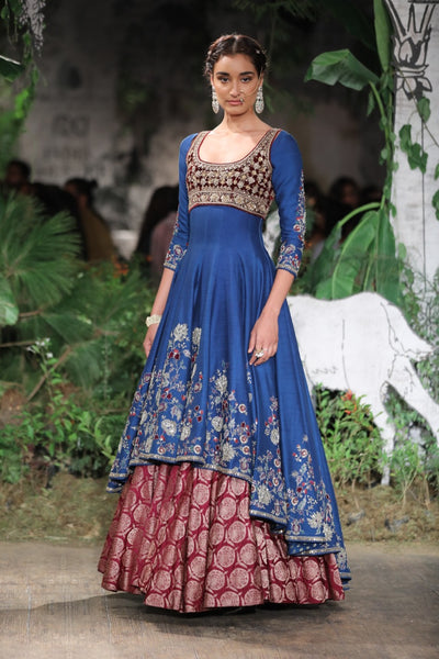PERSIAN BLUE EMBROIDERED SILK DUPION ANARKALI SET