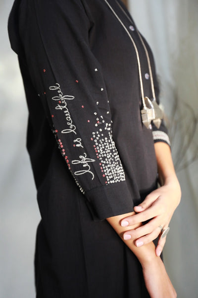 BLACK FRONT OPEN SHIRT DRESS WITH DELICATE THREAD EMBROIDERY ( ALFZ- 07A )