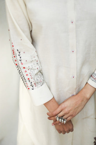 IVORY FRONT OPEN SHIRT DRESS WITH DELICATE THREAD EMBROIDERY ( ALFZ- 07A )